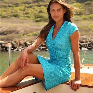 Athleta   Printed Nectar Dress Blue Large Petite